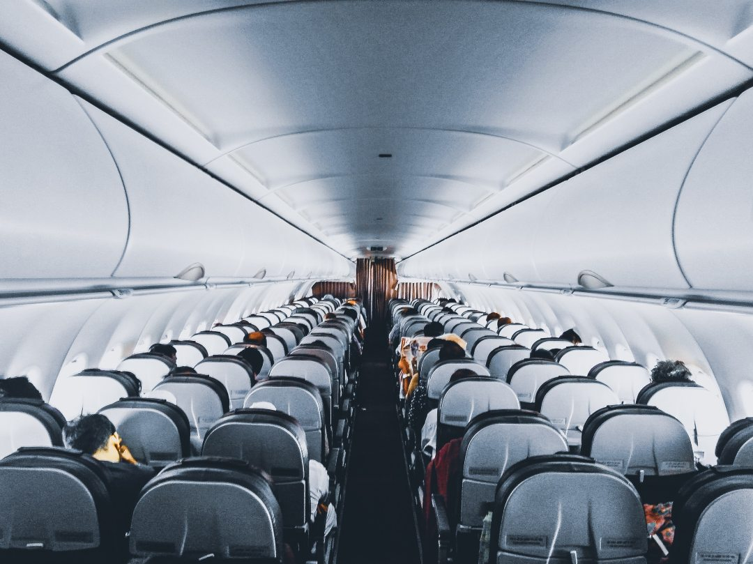 Inside of plane.